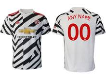 Mens 20-21 Soccer Manchester United Club ( Custom Made ) White Second Away Thailand Short Sleeve Jersey