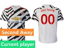 Mens 20-21 Soccer Manchester United Club Current Player White Second Away Thailand Short Sleeve Jersey