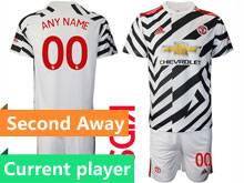 Kids 20-21 Soccer Manchester United Club Current Player White Second Away Short Sleeve Suit Jersey