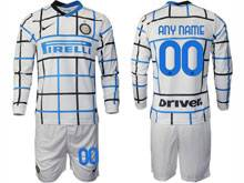 Mens 20-21 Soccer Inter Milan Club ( Custom Made ) White Away Long Sleeve Suit Jersey