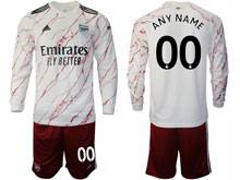 Mens 20-21 Soccer Arsenal Club ( Custom Made ) White Away Long Sleeve Suit Jersey