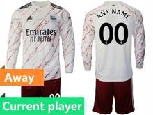 Mens 20-21 Soccer Arsenal Club Current Player White Away Long Sleeve Suit Jersey