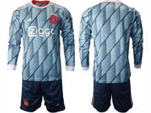 Mens 20-21 Soccer Afc Ajax Club ( Custom Made ) Gray Blue Away Long Sleeve Suit Jersey