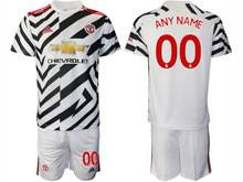 Mens 20-21 Soccer Manchester United Club ( Custom Made ) White Second Away Short Sleeve Suit Jersey