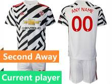 Mens 20-21 Soccer Manchester United Club Current Player White Second Away Short Sleeve Suit Jersey