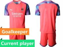 Mens 20-21 Soccer Ac Milan Club Current Player Red Goalkeeper Short Sleeve Suit Jersey