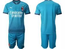 Mens 20-21 Soccer Ac Milan Club ( Custom Made ) Blue Second Away Short Sleeve Suit Jersey