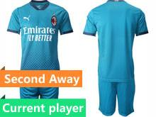 Mens 20-21 Soccer Ac Milan Club Current Player Blue Second Away Short Sleeve Suit Jersey