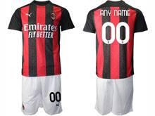 Mens 20-21 Soccer Ac Milan Club ( Custom Made ) Red Black Stripe Home Short Sleeve Suit Jersey