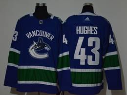 Mens Nhl Vancouver Canucks #43 Quinn Hughes Blue Adidas Player Jersey
