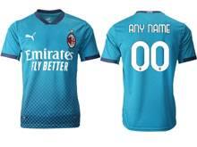 Mens 20-21 Soccer Ac Milan Club ( Custom Made ) Blue Second Away Thailand Short Sleeve Jersey