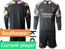 Kids 20-21 Soccer Ac Milan Club Current Player Black Goalkeeper Long Sleeve Suit Jersey