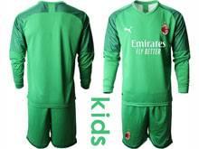 Kids 20-21 Soccer Ac Milan Club ( Custom Made ) Green Goalkeeper Long Sleeve Suit Jersey