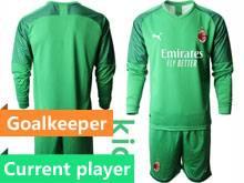 Kids 20-21 Soccer Ac Milan Club Current Player Green Goalkeeper Long Sleeve Suit Jersey