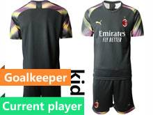 Kids 20-21 Soccer Ac Milan Club Current Player Black Goalkeeper Short Sleeve Suit Jersey