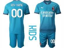 Kids 20-21 Soccer Ac Milan Club ( Custom Made ) Blue Second Away Short Sleeve Suit Jersey