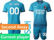 Kids 20-21 Soccer Ac Milan Club Current Player Blue Second Away Short Sleeve Suit Jersey