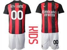 Mens 20-21 Soccer Ac Milan Club Current Player Red Black Stripe Home Short Sleeve Suit Jersey