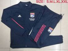 Mens 20-21 Club Olympique Lyonnais Navy Jacket And Navy Sweat Pants Training Training Suit ( Long Zipper )