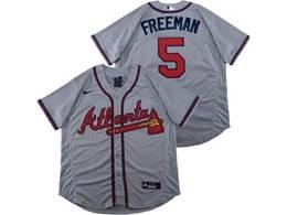 Mens Mlb Atlanta Braves #5 Freddie Freeman Gray Flex Base Nike Jersey