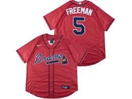 Mens Mlb Atlanta Braves #5 Freddie Freeman Red Flex Base Nike Jersey