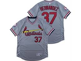 Mens Majestic St.louis Cardinals #37 Hernandez Gray V Neck Pullover Flex Base Jersey