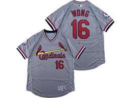 Mens Majestic St.louis Cardinals #16 Kolten Wong Gray V Neck Pullover Flex Base Jersey
