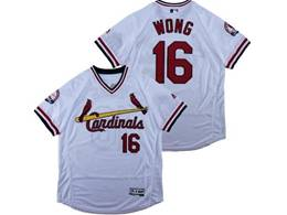 Mens Majestic St.louis Cardinals #16 Kolten Wong White V Neck Pullover Flex Base Jersey