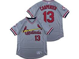 Mens Majestic St.louis Cardinals #13 Matt Carpenter Gray V Neck Pullover Flex Base Jersey