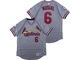 Mens Majestic St.louis Cardinals #6 Stan Musial Gray V Neck Pullover Flex Base Jersey