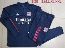 Mens 20-21 Club Olympique Lyonnais Navy Jacket And Navy Sweat Pants Training Training Suit ( Half Zipper )