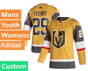 Mens Women Youth Vegas Golden Knights Custom Made Gold 20-21 Alternate Adidas Jersey