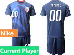 Mens 20-21 Soccer Usa National Team Current Player Nike Blue Away Short Sleeve Suit Jersey