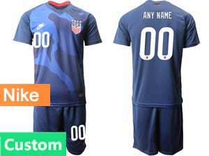 Mens 20-21 Soccer Usa National Team Custom Made Nike Blue Away Short Sleeve Suit Jersey