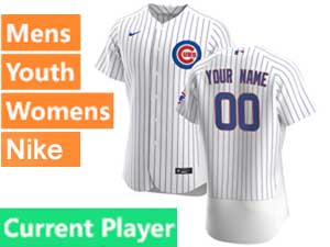 Mens Nike 2020 Chicago Cubs Current Player White Stripe Flex Base Jersey
