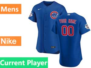 Mens Nike 2020 Chicago Cubs Current Player Blue Flex Base Jersey