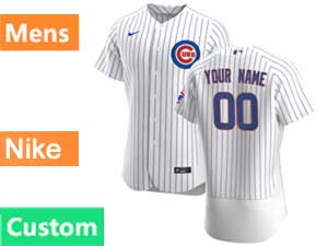 Mens Nike 2020 Chicago Cubs Custom Made White Stripe Flex Base Jersey