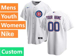 Mens Women Youth Nike 2020 Chicago Cubs Custom Made White Stripe Cool Base Jersey