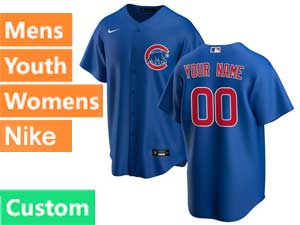 Mens Women Youth Nike 2020 Chicago Cubs Custom Made Blue Cool Base Jersey