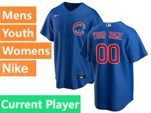 Mens Women Youth Nike 2020 Chicago Cubs Blue Cool Base Current Player Jersey