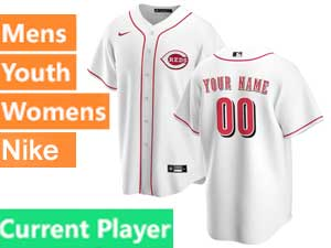 Mens Womens Youth Nike 2020 Cincinnati Reds Cool Base Current Player White Home Jersey
