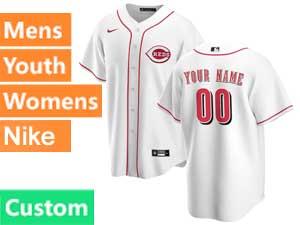 Mens Womens Youth Nike 2020 Mlb Cincinnati Reds Custom Made White Cool Base Home Jersey