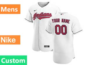 Mens Mlb Nike 2020 Cleveland Indians Custom Made White Home Flex Base Jersey