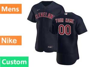 Mens Mlb Nike 2020 Cleveland Indians Custom Made Black Alternate Flex Base Jersey