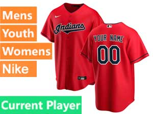 Mens Womens Youth Nike 2020 Cleveland Indians Red Cool Base Current Player Alternate Jersey