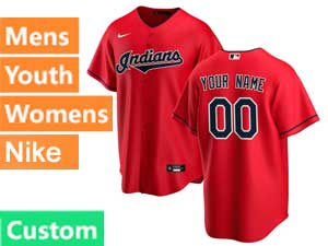 Mens Womens Youth Mlb Cleveland Indians Custom Made White Cool Base Alternate Jersey