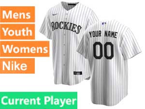 Mens Womens Youth 2020 Nike Colorado Rockies White Stripe Cool Base Current Player Home Jersey