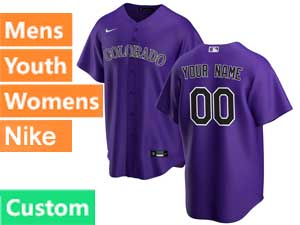 Mens Womens Youth Mlb Nike 2020 Colorado Rockies Custom Made Purple Cool Base Alternate Jersey