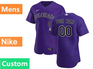 Mens Mlb Nike 2020 Colorado Rockies Custom Made Flex Base Purple Alternate Jersey