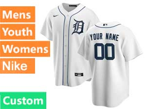 Mens Womens Youth Nike 2020 Mlb Detroit Tigers White Cool Base Custom Made Home Jersey